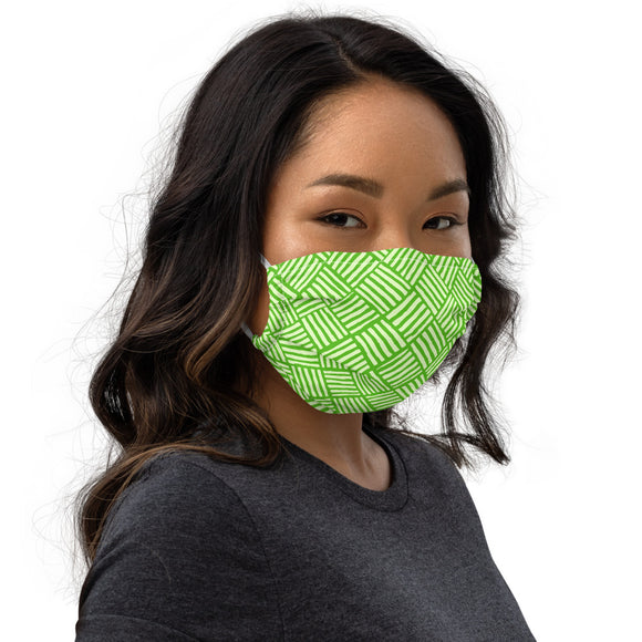 Tropical Green Weave Premium face mask