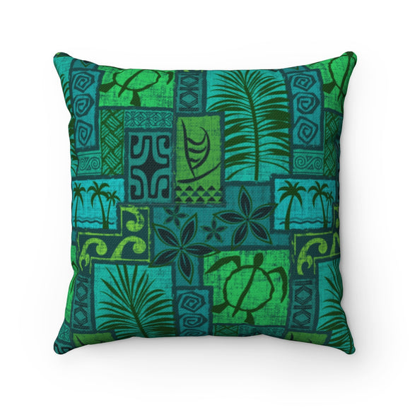 Moku Malihini on Blue, Spun Polyester Square Pillow