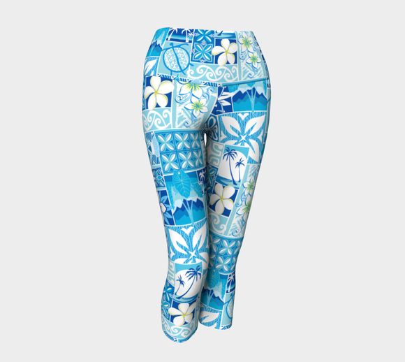 the-madtropic - Blue Hawaiian Motif Capri - Art of Where - Yoga Capris