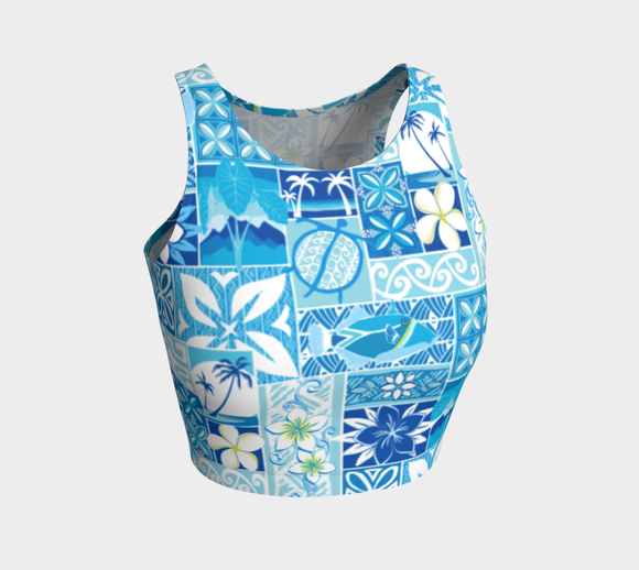 the-madtropic - Blue Hawaiian Motif Crop Top - Art of Where - Athletic Crop Top