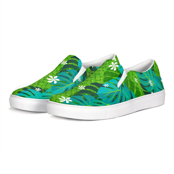 Monstera Tiare Weave 2 green Slip-On Canvas Shoe - The Mad Tropic