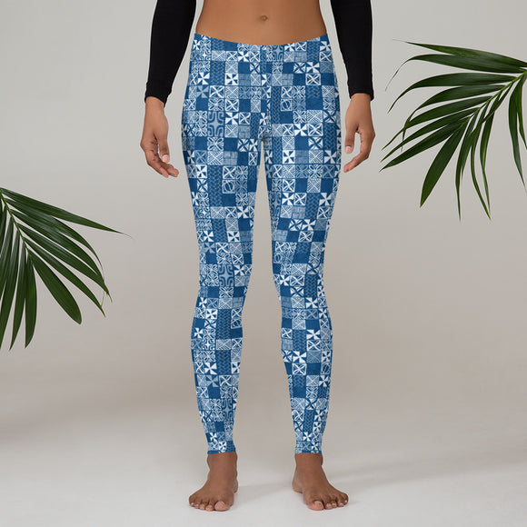 Classic Oceanic Blue Tapa Leggings