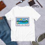 Peace/Life/Beach Short-Sleeve Unisex T-Shirt - The Mad Tropic