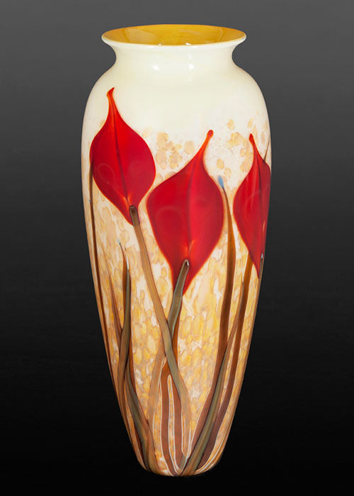 Red Lily on Gold Vase
