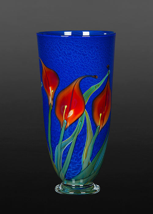 Red Lily on Blue Bowl