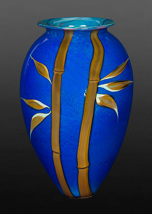 Bamboo on Blue Vase