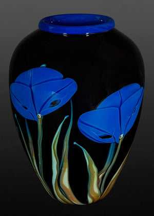 Blue Poppy on Black Vase