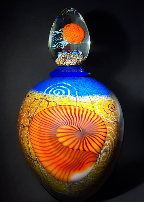 Orange Nautilus on Blue Sea Foam Lidded Vase