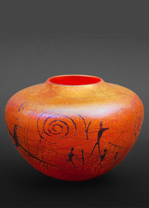 Petroglyph Gold Brown Vase - Sold