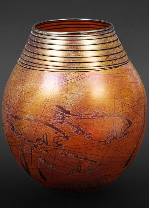 Petroglyph Golden Brown Basket Vase