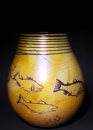 Petroglyph Golden Brown Fish Basket Vase
