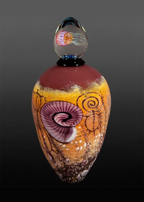 Plum Nautilus on Plum Sea Foam Lidded Vase