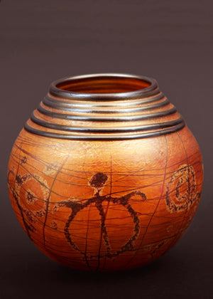 Turtle Petroglyph Golden Brown Basket Vase