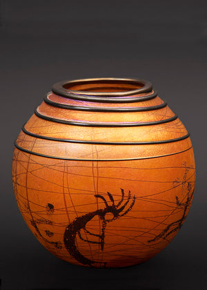 Kokopelli Petroglyph Golden Brown Basket Vase