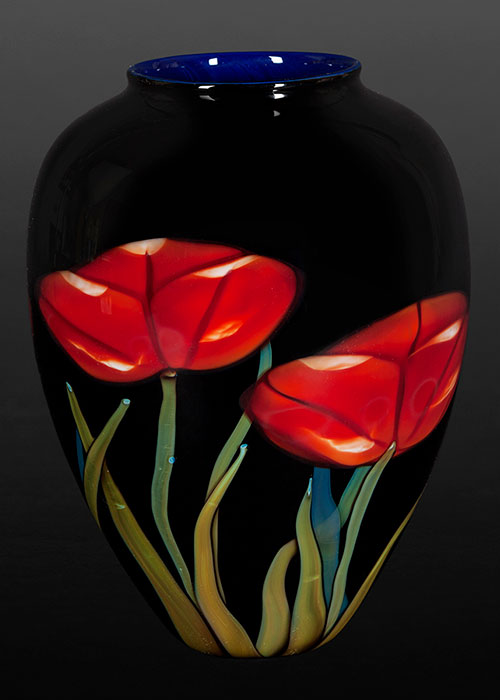 Red Poppy on Black Vase