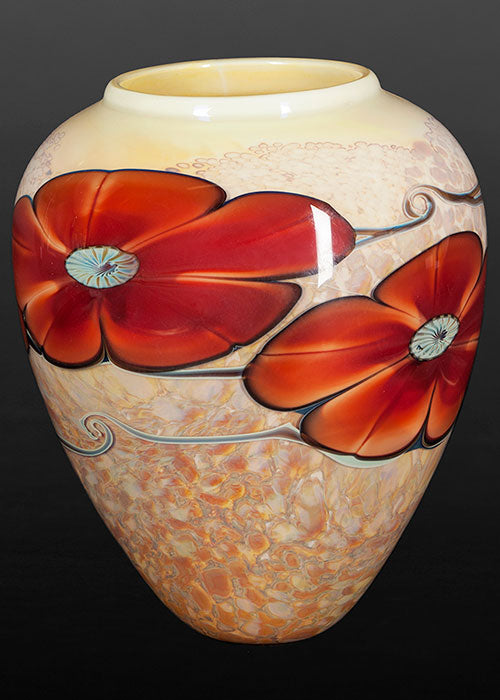Red Rock Rose on Gold Vase