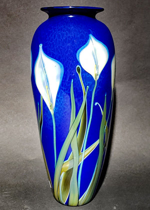 White Lily on Blue Vase