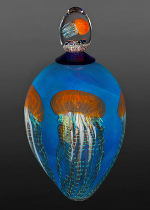 Pacific Coast Jellyfish Clear Blue Lidded Vase
