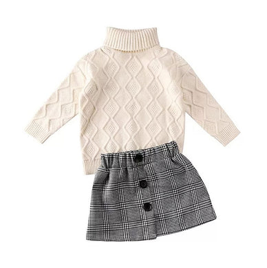 Ready to Ship Turtleneck & Plaid Skirt Set