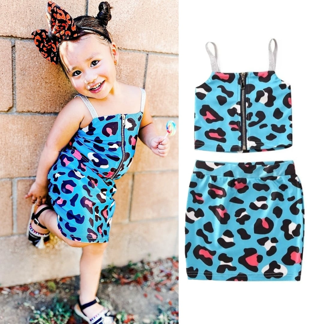 Ready to Ship Blue Leopard Skirt Set