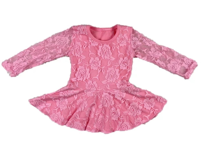 Ready to Ship Pink Lace Skirted Leotard Dress