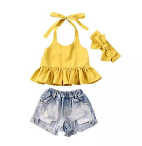 Ready to Ship Peplum Halter & Jean Shorts Set