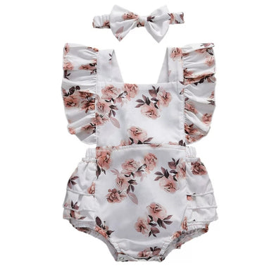 Ready to Ship White Floral Open Back Romper