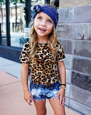 Ready to Ship Fringe Leopard Crop Tee