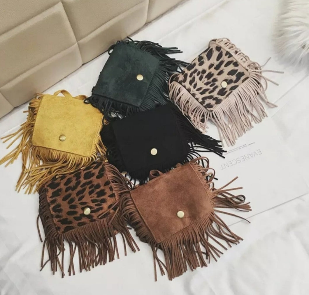 Ready to Ship Leopard Fringe Purses