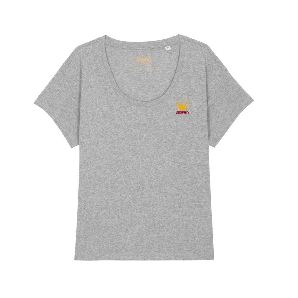 T-shirt Loose Morgevnid Brodé Gris Chiné - DILESTED