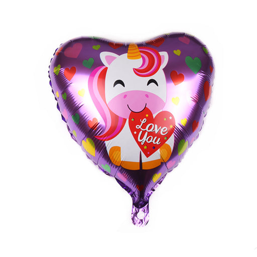 Celebratebay Heart Shaped Unicorn Pony Aluminum Foil Balloons