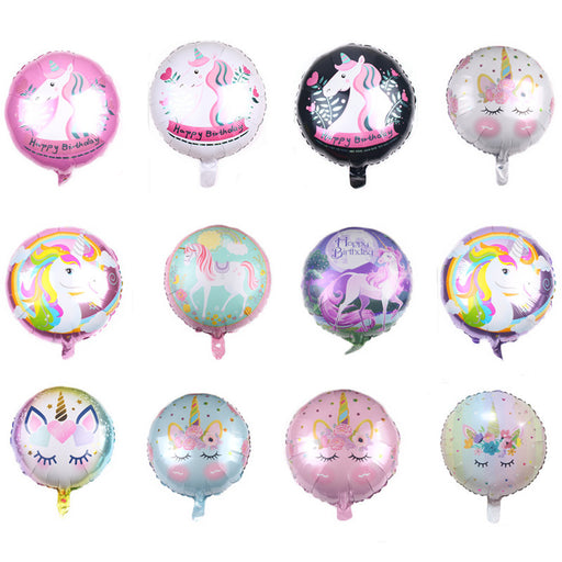 Celebratebay Cross-Border unicorn Round Ball Children Birthday Aluminum Foil Balloons