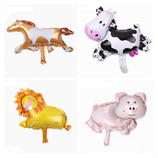 Celebratebay Mini Cow Lion Pig Pony Cartoon Animal Shaped Aluminum Film Balloons