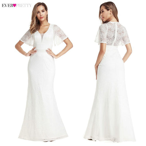 Sexy Lace Mermaid Illusion Back Wedding Dresses Ever Pretty Zipper V-Neck Short Sleeve Elegant Bride Gowns Vestido De Noiva 2019