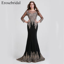 Load image into Gallery viewer, Clearance Sale Black Mermaid Evening Dress Long Gold Lace Long Sleeve Evening Dress with Train 8 Colors