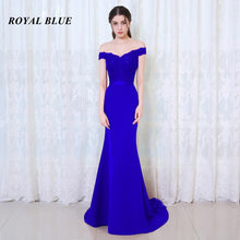 Load image into Gallery viewer, BEPEITHY Robe De Soiree Mermaid Burgundry Long Evening Dress Party Elegant Vestido De Festa Long Prom Gown 2019 With Belt