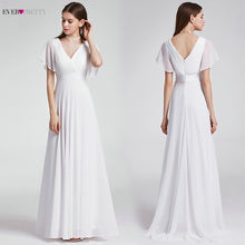 Load image into Gallery viewer, Ever Pretty Cheap Chiffon Wedding Dress Elegant A Line V Neck Flare Sleeve Long Beach Bridal Gown 2019 Robe De Mariee EP09890WH