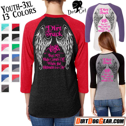 "Dirt Girl® Shirt #6 Raglan: ""Dirt Track Angel"""