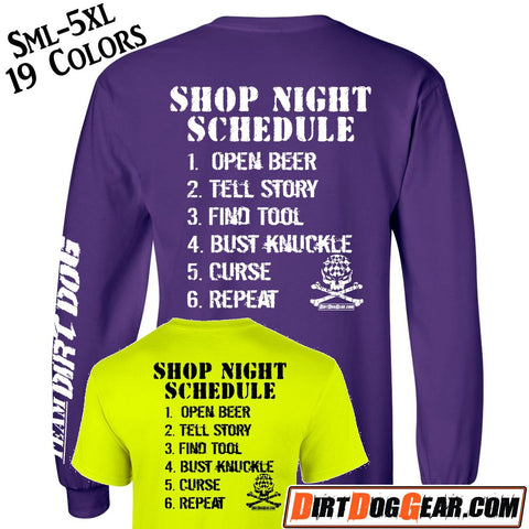 "Bones Shirt #5: ""Shop Night Schedule"""