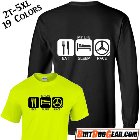 "Crate Rate® Shirt 29: ""Eat, Sleep, Race"""