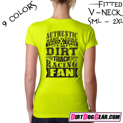 "Dirt Girl® #1 V-Neck Tee: ""Dirt Track Fan"""
