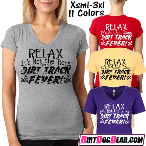 "Bones 15 Ladies V-Neck Tee: ""Dirt Track Fever"""