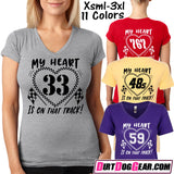 "Dirt Girl® #23 V-Neck Tee: ""My Heart"""