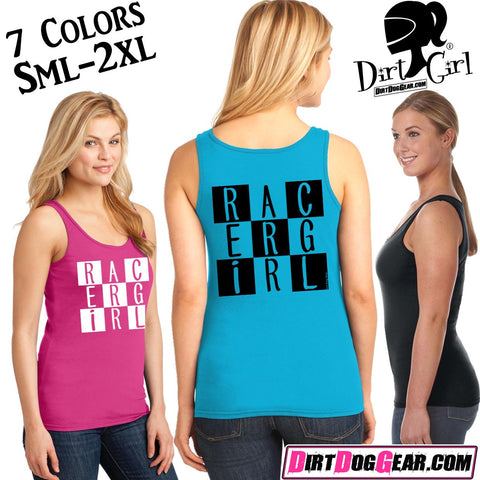 "Dirt Girl® Shirt #21 Tank Top: ""Racer Girl"""