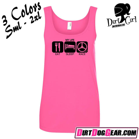 "Dirt Girl® Shirt #17 Tank Top: ""Eat, Sleep, Race"""