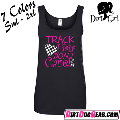 "Dirt Girl® Shirt #12 Tank Top: ""Track Hair Don't Care"""