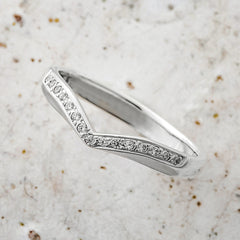White Gold Diamond Wishbone Shaped Wedding Band