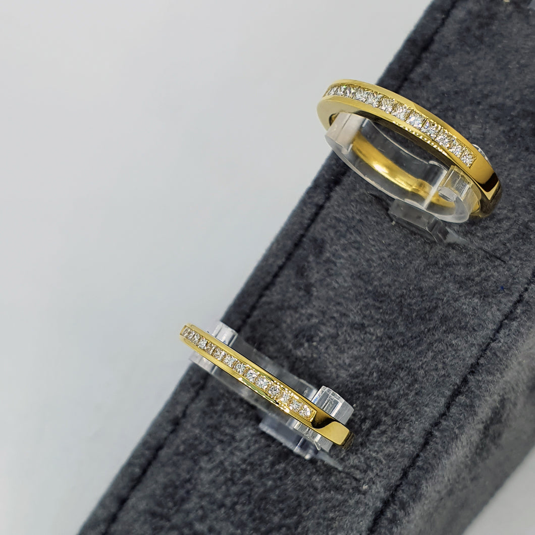Copy of 18ct Yellow Gold Princess Diamond Channel Set Half Eternity Ring .15ct