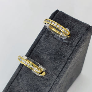 18ct Yellow Gold Princess Diamond Channel Set Half Eternity Ring .25ct