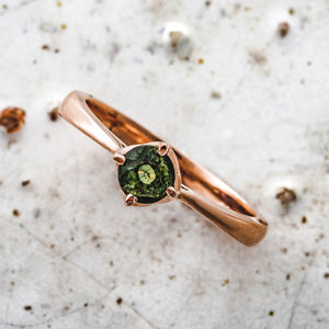 Green Sapphire & Fairmined 9ct Rose Gold Engagement Ring